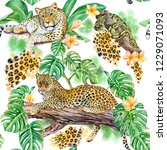 seamless pattern with leopards... | Shutterstock . vector #1229071093