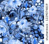 blue tropical pattern exotic... | Shutterstock . vector #1229074819