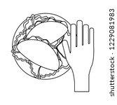 hand grabbing burrito black and ... | Shutterstock .eps vector #1229081983