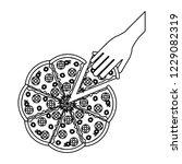 hand grabbing pizza black and... | Shutterstock .eps vector #1229082319