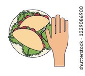 hand grabbing burrito | Shutterstock .eps vector #1229086900