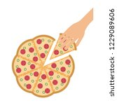 hand grabbing pizza | Shutterstock .eps vector #1229089606