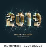 gold 2019 happy new year on the ... | Shutterstock .eps vector #1229103226