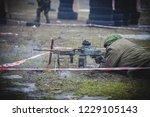soldier fires a machine gun | Shutterstock . vector #1229105143