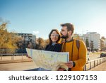 lovely couple sightseeing the... | Shutterstock . vector #1229107153