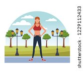 fitness people at park | Shutterstock .eps vector #1229112433