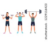 fitness peopletraining with | Shutterstock .eps vector #1229116423