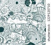 sea shells and sea urchin... | Shutterstock .eps vector #1229120710