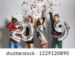 new year party. company of... | Shutterstock . vector #1229120890