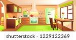 modern kitchen interior with... | Shutterstock .eps vector #1229122369