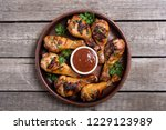 grilled chicken legs with...   Shutterstock . vector #1229123989