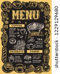 coffee menu template for... | Shutterstock .eps vector #1229129680