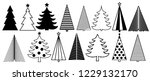 christmas tree graphic art set. ... | Shutterstock .eps vector #1229132170