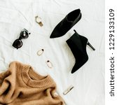 flat lay  top view fashion... | Shutterstock . vector #1229133109