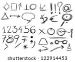 set  hand drawn  numbers ... | Shutterstock . vector #122914453