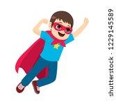 cute little super hero boy...   Shutterstock .eps vector #1229145589