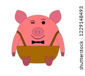 pink pig on a white background... | Shutterstock .eps vector #1229148493