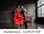 young beautiful couple dancing tango