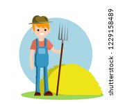 man farmer with a fork and a... | Shutterstock .eps vector #1229158489