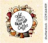 quote coffee cup typography... | Shutterstock .eps vector #1229166409