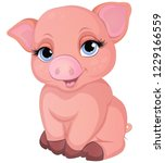 cute pig cartoon isolated on... | Shutterstock .eps vector #1229166559