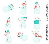 set of funny and funny snowmen. ... | Shutterstock .eps vector #1229170393