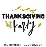 thanksgiving party. hand drawn... | Shutterstock .eps vector #1229182399