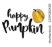 happy pumpkin. hand drawn... | Shutterstock .eps vector #1229182420