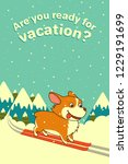 vector dog skiing on winter... | Shutterstock .eps vector #1229191699
