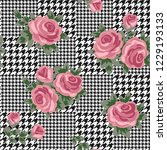 houndstooth seamless black and... | Shutterstock . vector #1229193133