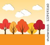 autumn paper applique landscape | Shutterstock . vector #1229193160