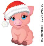 pretty pig in a santa's red cap ... | Shutterstock .eps vector #1229198710