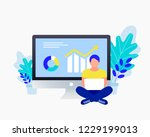 business strategy concept. data ... | Shutterstock .eps vector #1229199013