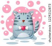 cat  kitty character. love... | Shutterstock .eps vector #1229212873