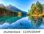 autumn sunrise of hintersee... | Shutterstock . vector #1229220349