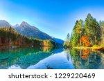 autumn sunrise of hintersee... | Shutterstock . vector #1229220469