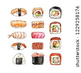watercolor hand painted sushi... | Shutterstock . vector #1229258176