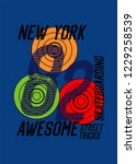 new york skateboarding street... | Shutterstock .eps vector #1229258539