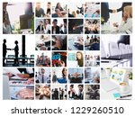 business collage with scene of... | Shutterstock . vector #1229260510