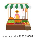woman selling products in... | Shutterstock .eps vector #1229268889