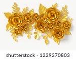 gold flower paper style  paper... | Shutterstock . vector #1229270803