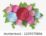 flower paper style  colorful... | Shutterstock . vector #1229270806
