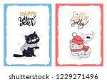 christmas cards with greetings... | Shutterstock .eps vector #1229271496