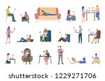 people with laptops chatting... | Shutterstock .eps vector #1229271706