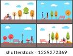autumn park fall season scenery ... | Shutterstock .eps vector #1229272369