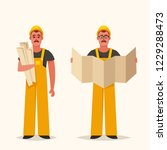 professional builder with... | Shutterstock .eps vector #1229288473