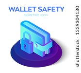 wallet with padlock icon. 3d... | Shutterstock .eps vector #1229304130