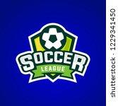 soccer league sport logo vector ... | Shutterstock .eps vector #1229341450