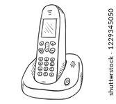 vector sketch cordless phone....   Shutterstock .eps vector #1229345050
