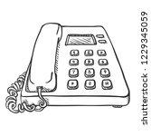 vector sketch office telephone. ... | Shutterstock .eps vector #1229345059